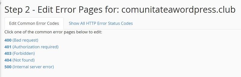 Elija la página de error para editar