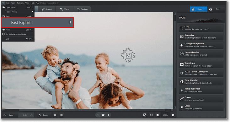 También puede utilizar Exportación rápida para guardar rápidamente su imagen