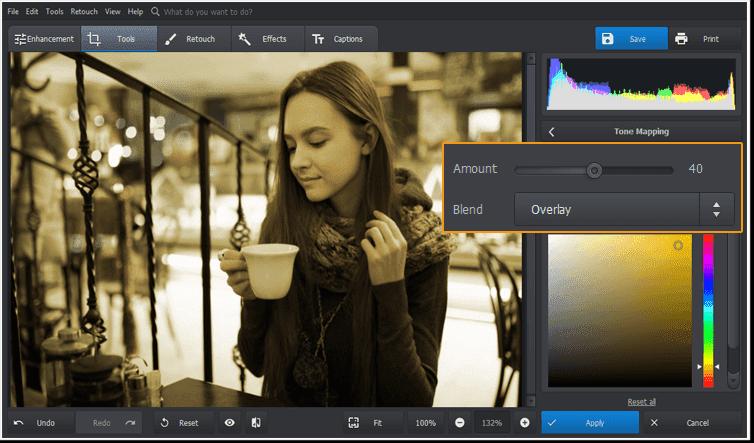 Utilice la herramienta Mapeo de tonos para crear un efecto de imagen antiguo