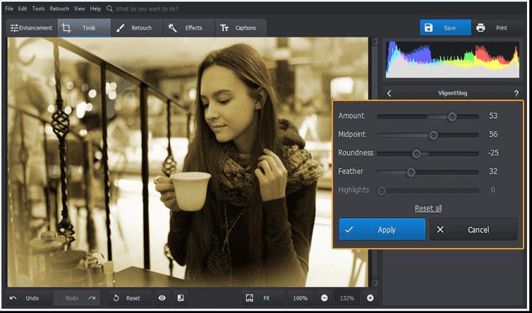 Aplica el efecto berenjena en el editor de fotos.