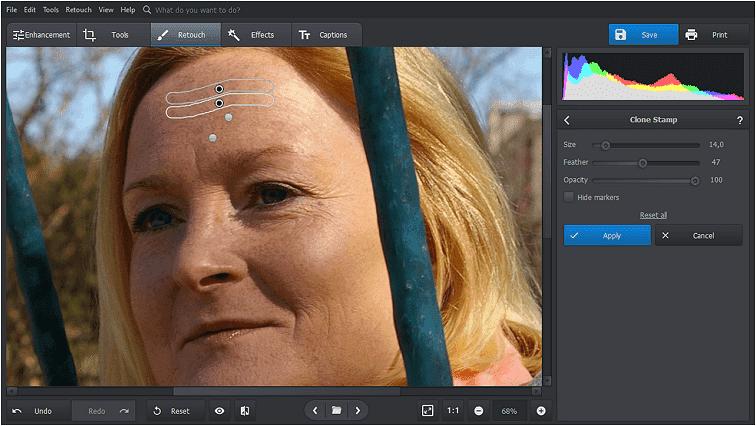 Elimina las arrugas con la herramienta Tampón de clonar