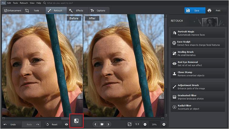 Ver dos imágenes una al lado de la otra para ver los cambios