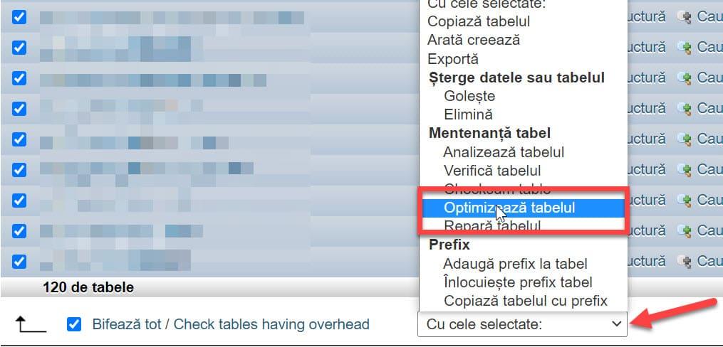 Seleccione Optimizar tabla