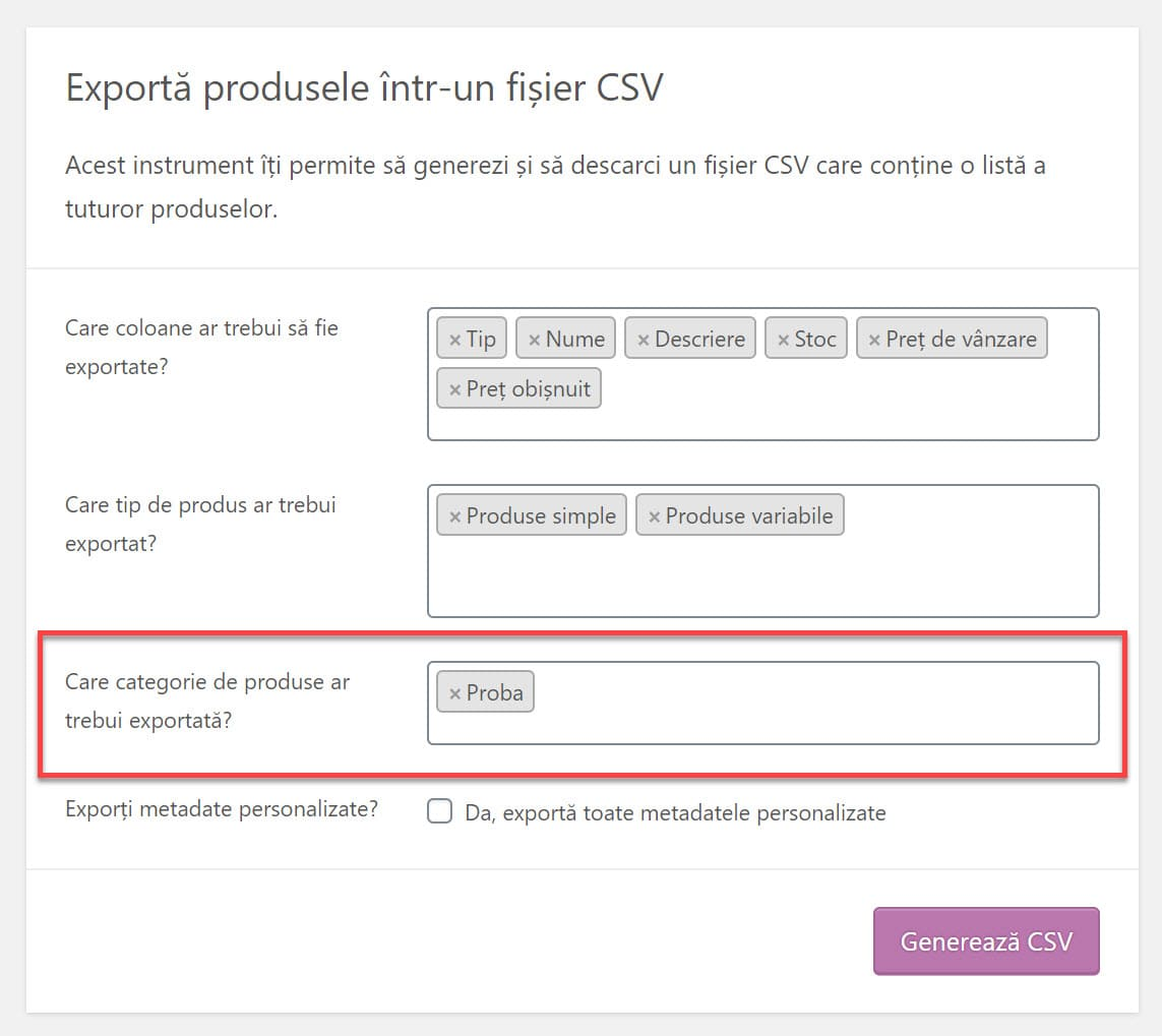 Seleccione qué categorías exportar