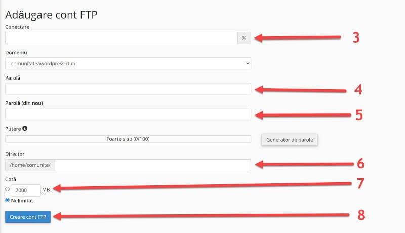 Agregar cuenta FTP