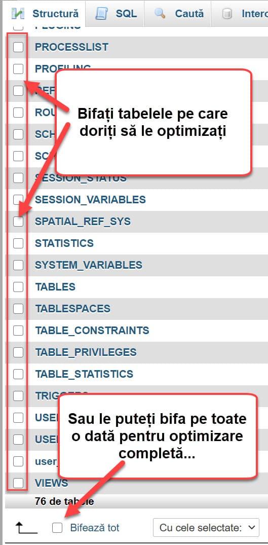 Verifique las tablas que desea optimizar