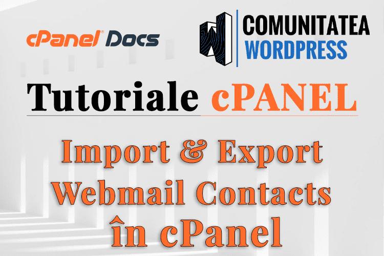Cum să Importați și să Exportați contacte webmail