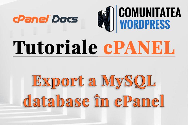 Cum se exportă o bază de date MySQL