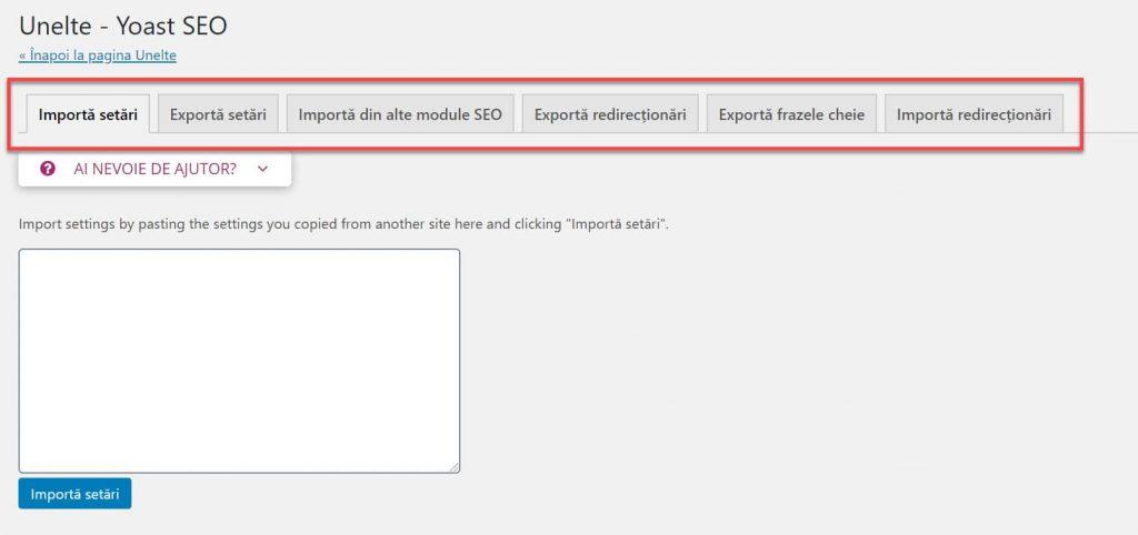 Herramientas de importación y exportación