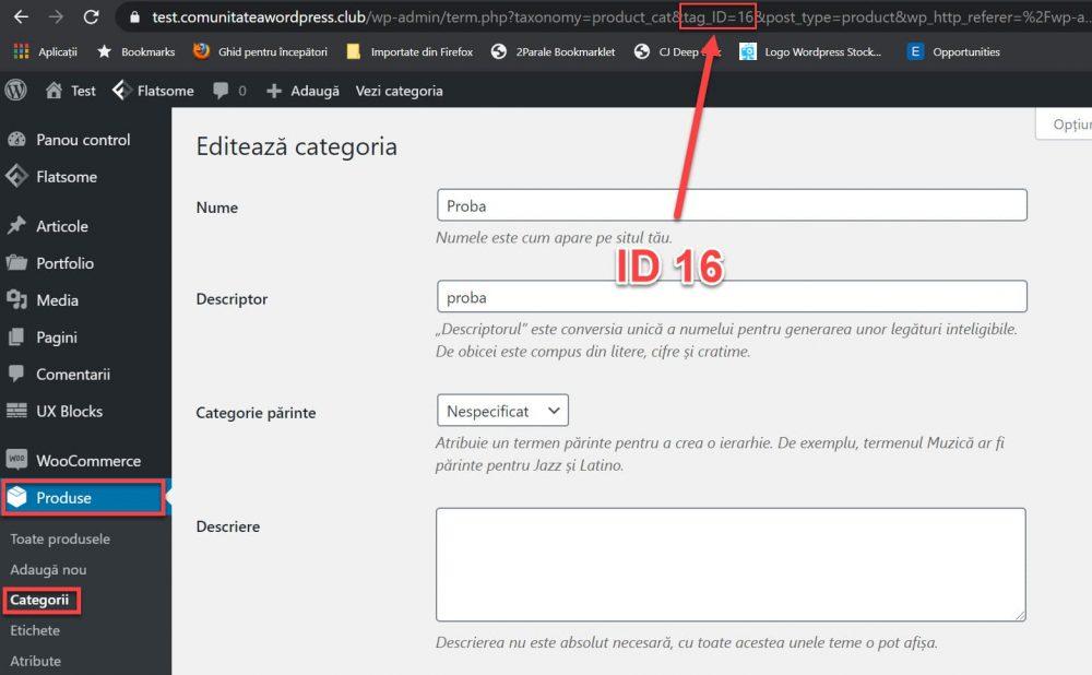 El ID de una categoría