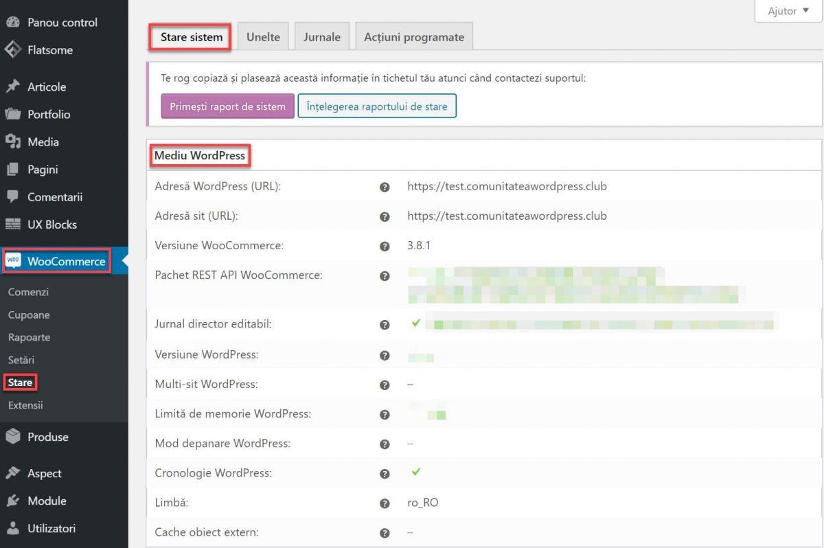 Informe de estado: entorno de WordPress