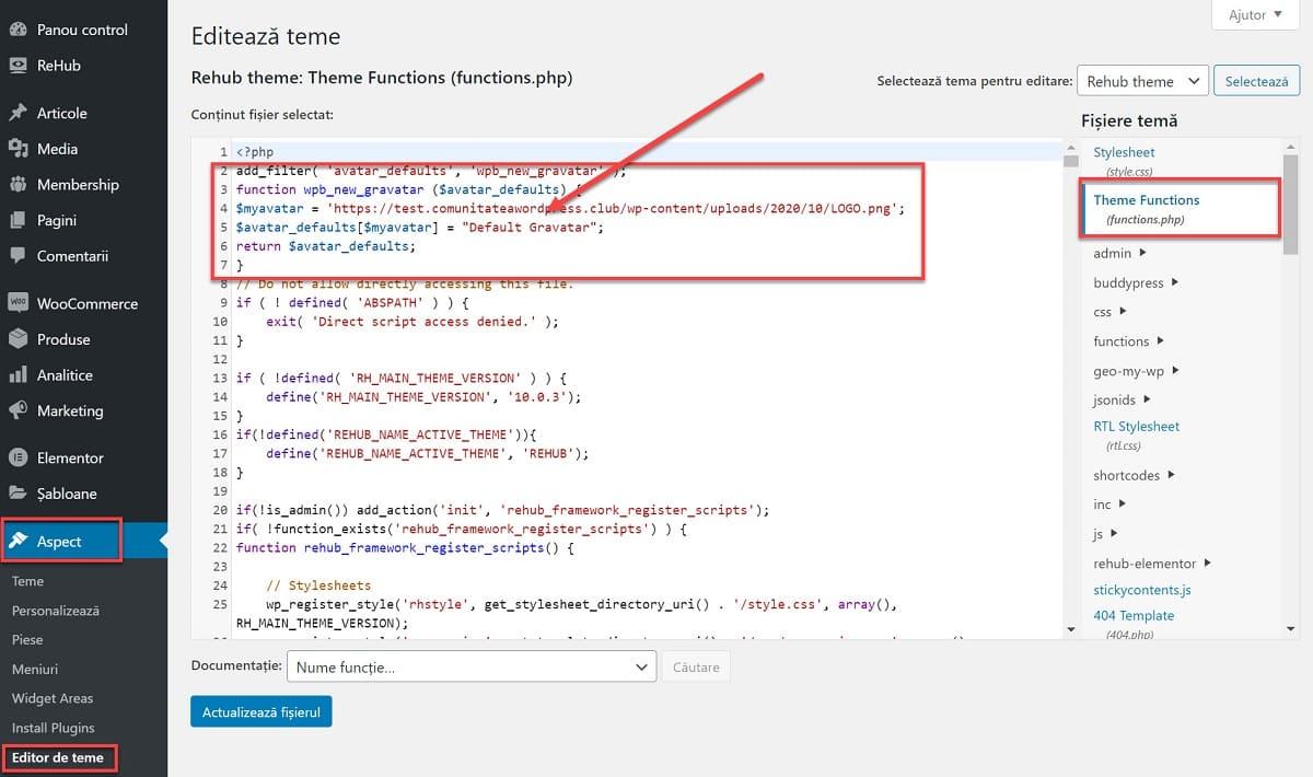 Agregue el código al archivo de función