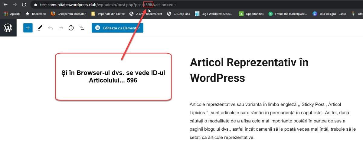 ID de artículo en el navegador