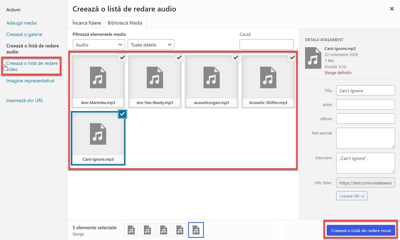 Agrega una lista de reproducción de audio