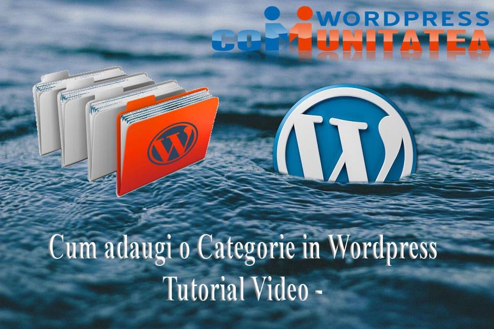 Cum Adaugi o Categorie in Wordpress - Tutorial Video