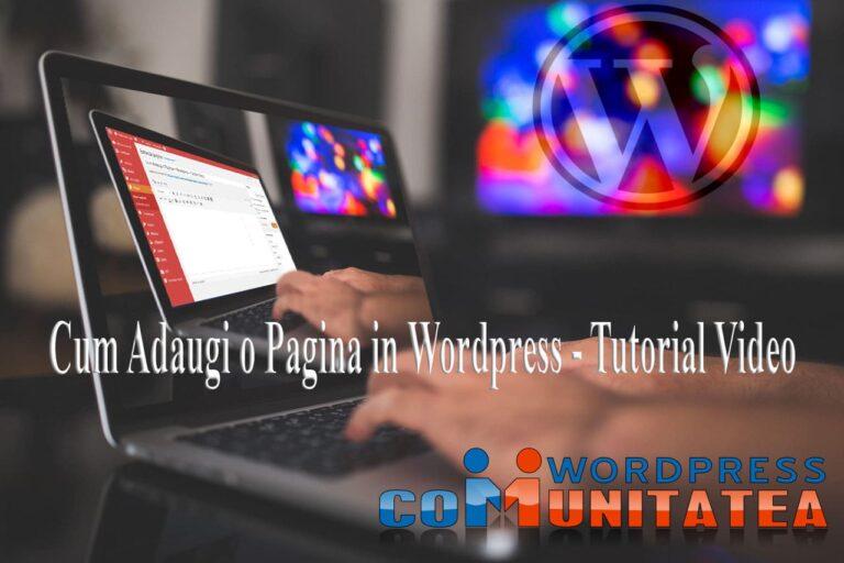 Cum Adaugi o Pagina in Wordpress - Tutorial Video