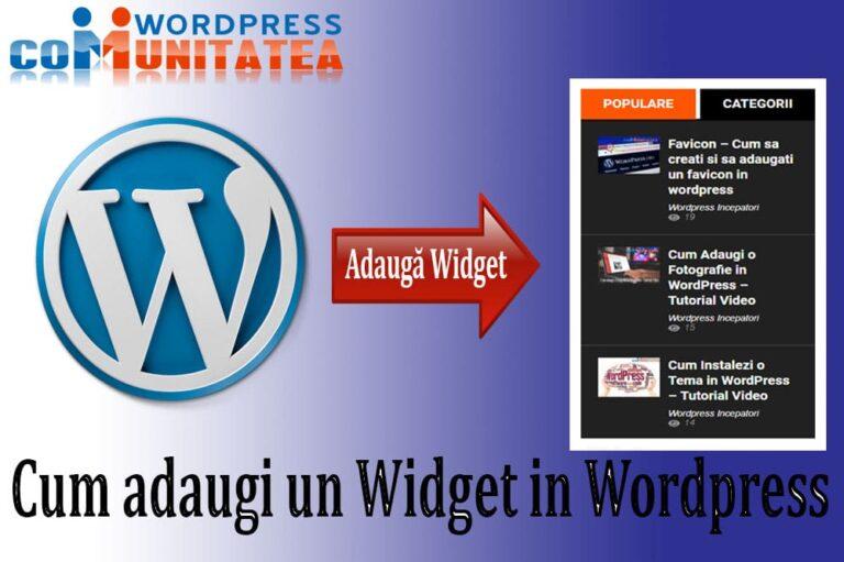 Cum adaugi un Widget in Wordpress - Comunitatea Wordpress