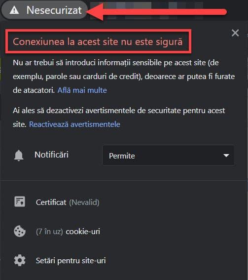Error de SSL: no protegido