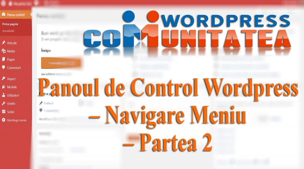 Panel de control de Wordpress - Menú de navegación
