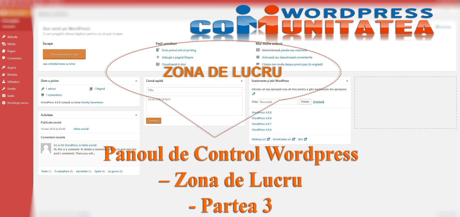 Panoul de Control Wordpress – Zona de Lucru - Partea 3